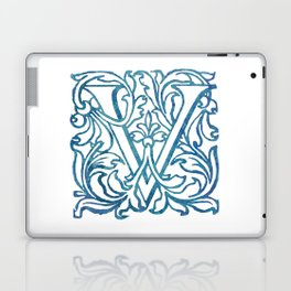 Letter V Elegant Vintage Floral Letterpress Monogram Laptop & iPad Skin