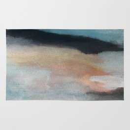 Dawn: a minimal abstract acrylic piece in pink, blues, yellow, and white Rug