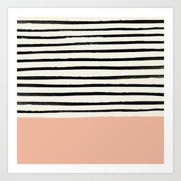 Peach x Stripes Art Print