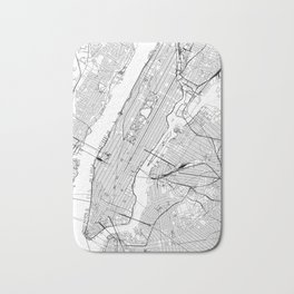 New York City White Map Bath Mat