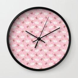 Swan, swan art, swan pattern, floral Wall Clock