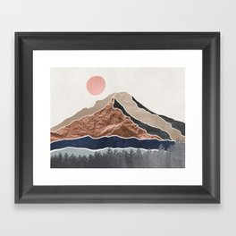 Mount Hood // Daylight Art Print Oregon Stratovolcano Rose Gold Silver Blue Cream Black Mountain Framed Art Print