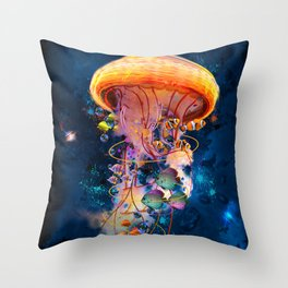 Electric Jellyish World Throw Pillow