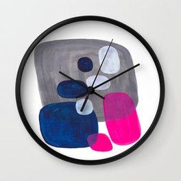 Mid Century Modern Minimalist Colorful Pop Art Grey Navy Blue Neon Pink Color Blobs Ovals Wall Clock