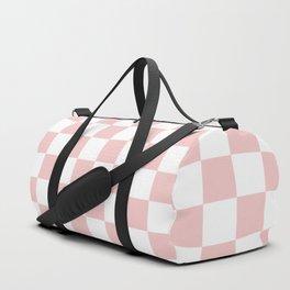 Gingham Pink Blush Rose Quartz Checked Pattern Duffle Bag