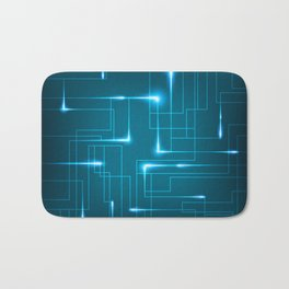 Blue Neon Circuit Board Bath Mat