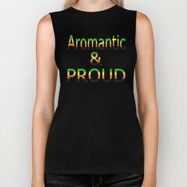 Aromantic and Proud (black bg) Biker Tank