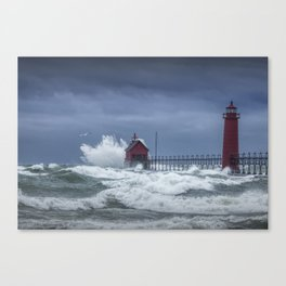 Flying Gull in a November Storm on Lake Michigan by the Grand Haven Lighthouse No.195 Fine Art Light Canvas Print