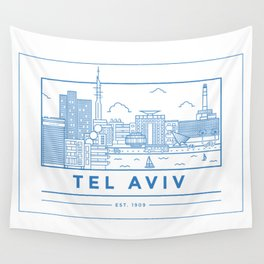 Tel Aviv line art Wall Tapestry