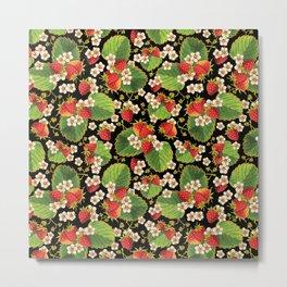 Strawberries Botanical Metal Print