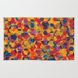 Colorful Half Hexagons Pattern Rug
