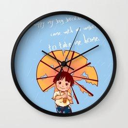 Rain rain, Fall fall blue Wall Clock