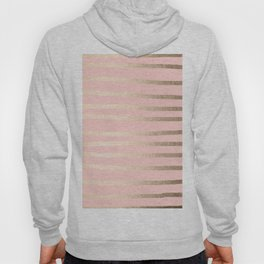 Abstract Drawn Stripes Gold Coral Light Pink Hoody