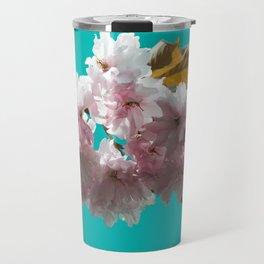 Cheery blossom green background Travel Mug