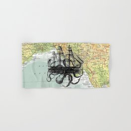 Octopus Attacks Ship on map background Hand & Bath Towel