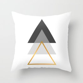Triangles art, Black, white and gold Throw Pillow