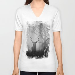 Black and White Stag Silhouette Unisex V-Neck