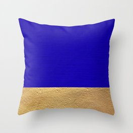 Color Blocked Gold & Cerulean Throw Pillow