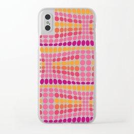 Dottywave - Pink Orange wave dots pattern Clear iPhone Case