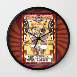 """Millie Normel- the Totally Tattooed Lady"" Sideshow Poster Wall Clock"