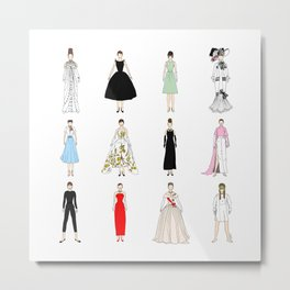 Outfits of Audrey Hepburn Fashion (White) Metal Print