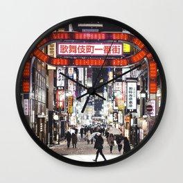 Japan at night Wall Clock