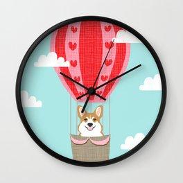 Corgi hot air balloon funny dog art cute puppy nursery Wall Clock