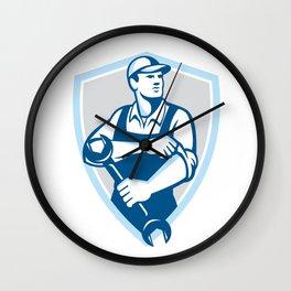 Mechanic Spanner Rolling Sleeve Shield Retro Wall Clock