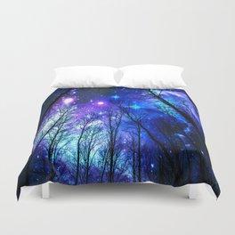 black trees purple blue space Duvet Cover