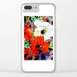 colorful poppies Clear iPhone Case