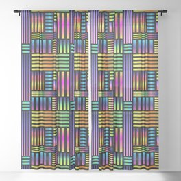 90's Neon Ombre Stripes Sheer Curtain
