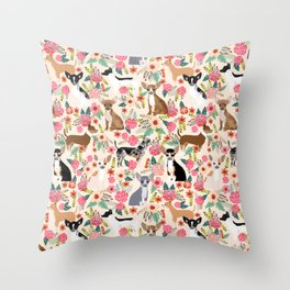 Chihuahua florals cute pastel dog breed must have gifts for small dog owner dog person pet portraits Throw Pillow