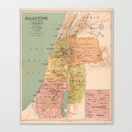 Map of Palestine in the Time of Christ (to 70 A.D.) Canvas Print
