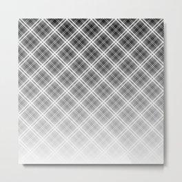 Fade To Black  - Black and White Tartan Plaid Check Metal Print