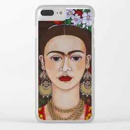 Frida Kahlo with butterflies Clear iPhone Case