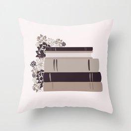Neutral Book Stack Throw Pillow