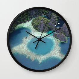 the blue hole in coron Philippines Wall Clock