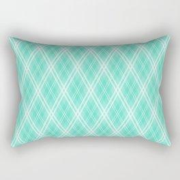 Aqua & White Scots Argyle Check Plaid Rectangular Pillow