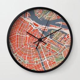 Amsterdam city map classic Wall Clock