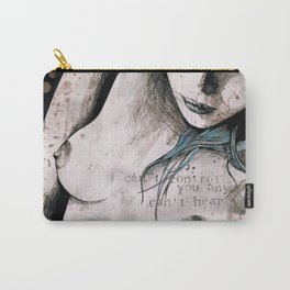 Rotten Apple: Turquoise (nude topless girl, erotic graffiti portrait) Carry-All Pouch