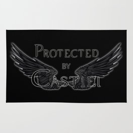 Protected by Castiel Black Wings Rug
