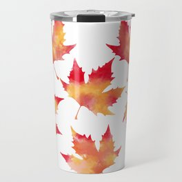 Maple leaves white Travel Mug