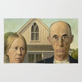 American Gothic Oil Painting by Grant Wood Rug