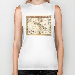 Map of North & South America by Thomas Bassett (1626) Biker Tank