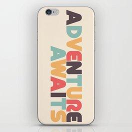Adventure Awaits Retro Rainbow Typography iPhone Skin