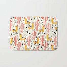 Yellow Llamas Red Cacti Bath Mat