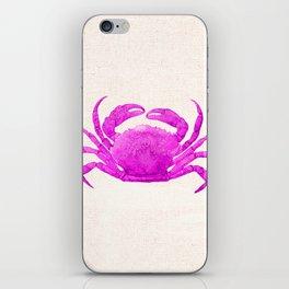 Nautical Pink Crab Linen iPhone Skin