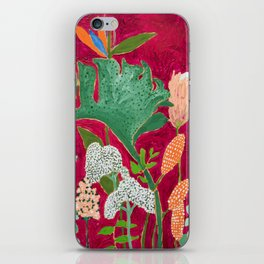 Fuchsia Pink Floral Jungle Painting iPhone Skin