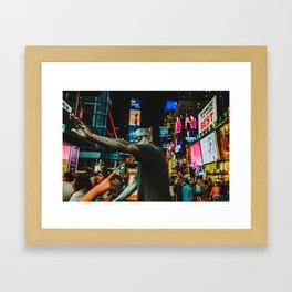 Men in TimeSquare Framed Art Print