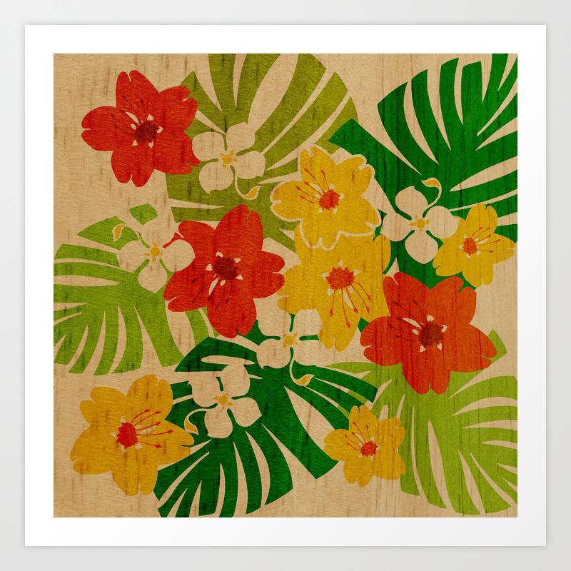 Limahuli Garden Hawaiian Floral Design Art Print By